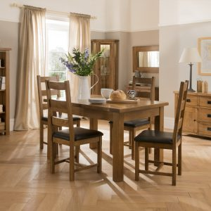 Rustic Circular Dining Table & Four Grey Dining Chairs