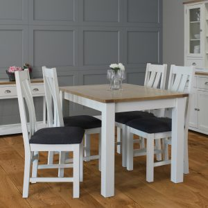 Pemberley Fixed Top Dining Table & Four Cross Back Dining Chairs - White